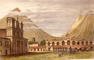 "History of Guatemala - Plaza Central of Antigua Guatemala in 1829. The old ""Palacio de la Capitanía General"" was still destroyed after the 1773 earthquake."