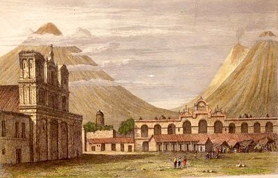 "Plaza Central of Antigua Guatemala in 1829. The old ""Palacio de la Capitania General"" was still destroyed after the 1773 earthquake. Plate 33- ANTIGUA GUATIMALA.jpg"