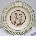 Plate with painted motif and stanza from 'Till en girig' by Anna Maria Lenngren (1754-1817), Rorstrand, early 1800s - Nordiska museet - Stockholm, Sweden - DSC09802.JPG