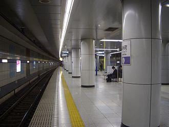 Kinshichō Station - Hanzomon Line underground platforms, December 2008