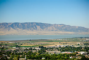 Pleasant Grove, Utah - Pleasant Grove with Utah Lake in the background. Pleasant Grove High School can be seen in the foreground.