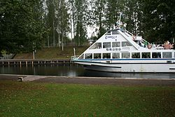 Pleasure boat Camilla on the approach to the Lock Mälkiä on the Saimaa canal.jpg