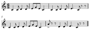 Steps and skips - Image: Pop Goes the Weasel melody