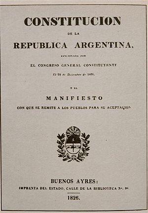 Argentine Constitution of 1826 - Argentine Constitution of 1826