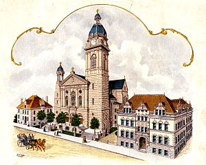 St. John Cantius Church (Chicago) - A postcard showing St. John Cantius Church, Rectory, and School from 1909.