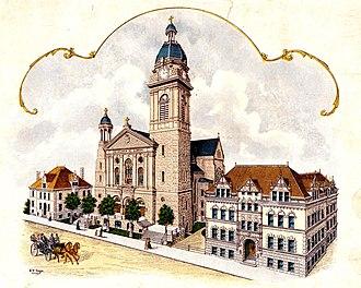St. John Cantius Church (Chicago) - A postcard showing St. John Cantius Church, Rectory, and School from 1909.