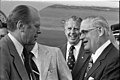 President Gerald R. Ford and Ohio State University Football Coach Woody Hayes at the Port Columbus Airport in Columbus, Ohio - NARA - 30805881.jpg