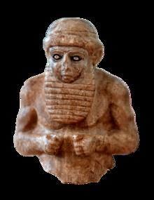 Priester-koning uit Uruk, Mesopotamië, Irak, ca.  3000 v.Chr.  The Iraq Museum (transparant) .png