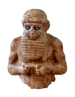 Priest-king from Uruk, Mesopotamia, Iraq, c. 3000 BCE. The Iraq Museum (transparent).png