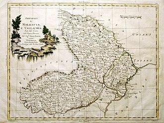 Danubian Principalities - The Principalities of Moldavia and Wallachia in 1786, Italian map by G. Pittori, since the geographer Giovanni Antonio Rizzi Zannoni.