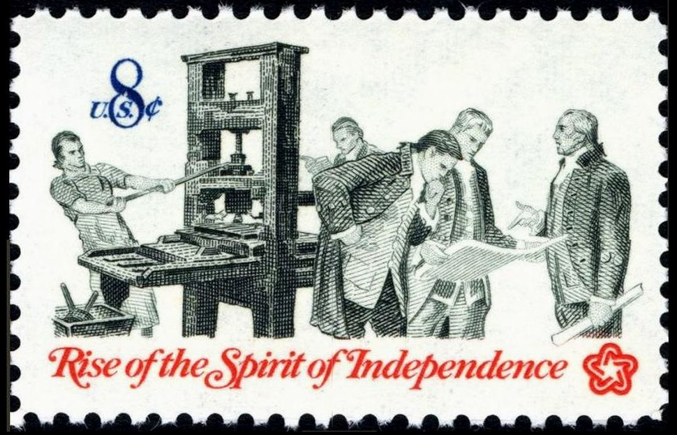 Printer and patriots 1973 U.S. stamp.1