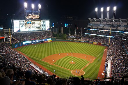 Progressive Field, home to the Cleveland Indians baseball team. Progressive Field - Cleveland, OH.jpg