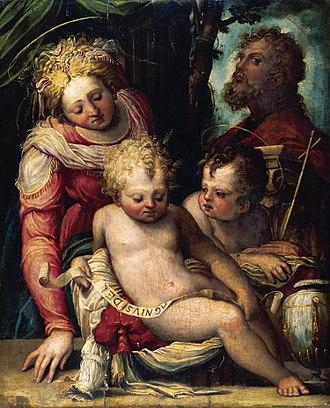 Prospero Fontana - Holy Family with the Infant St. John the Baptist, c. 1548-51, Oil on panel.
