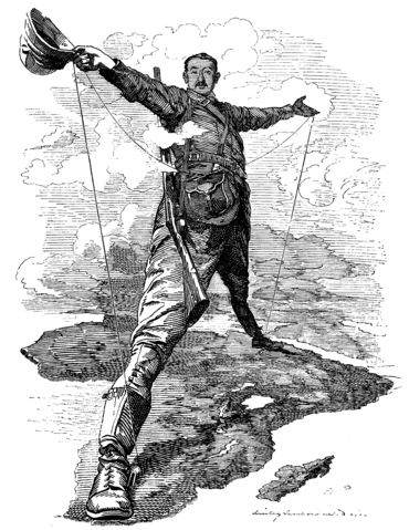 Cecil Rhodes in an editorial cartoon with the Cape Town to Cairo telegraph system.