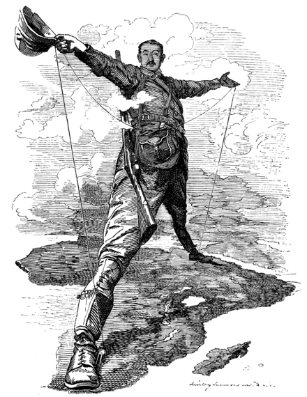 The Rhodes Colossus, a caricature of Cecil Rhodes after announcing plans for a telegraph line from Cape Town to Cairo. European countries were engaged in a Scramble for Africa. Punch Rhodes Colossus.png