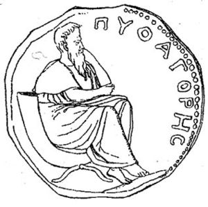Pythagoras on a coin