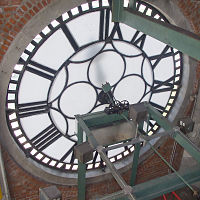 Behind clock face