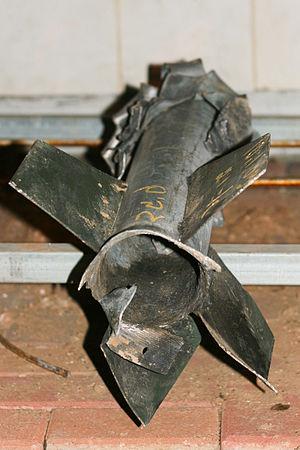 A Qassam rocket, in Sderot, Israel