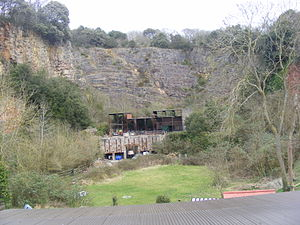 """Worlebury Camp - 19th century quarry on the south side of the hill, seen looking north from """"South Road"""""""