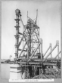 Queensland State Archives 3618 Main bridge erection stage 3 first section of cantilever arm lower chord erected Brisbane c 1938.png