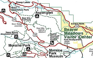 Beaver Meadows Visitor Center - Beaver Meadows map. Courtesy of Rocky Mountain National Park.