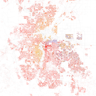Map of racial distribution in Denver, 2010 U.S. Census. Each dot is 25 people: White, Black, Asian, Hispanic, or Other (yellow) Race and ethnicity 2010- Denver (5560468460).png