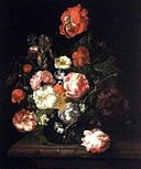 Rachel Ruysch - Flowers in a glass vase on a marble slab ca. 1710 - 1899.1.26.jpg
