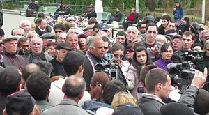2013 Armenian protests - Hovannisian giving an interview in the Freedom Square on 11 March 2013