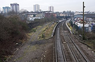 Lawrence Hill railway station - Looking at Lawrence Hill from the north. The disused trackbed on the eastern side of the station is seen on the left. This will be reinstated and electrified as part of the impending upgrade to the Great Western Main Line.