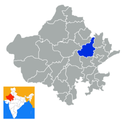 Location of Jaipur district in Rajasthan