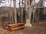 Raspenava - Luisin sluneční kříž na úpatí Pekelského vrchu, v pozadí památný Sluneční buk (1).JPG