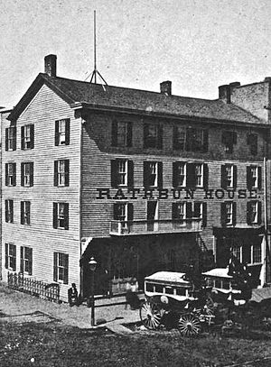 History of Grand Rapids, Michigan - The large framed building constructed by Campau in 1834, seen in this image converted into part of the Rathbun House.