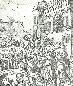 Ottoman–Safavid War (1603–18) - Drawing of the capture of Tabriz and the parading before Shah Abbas I of the severed heads of Ottoman soldiers. Drawn by a European traveller, 1603.