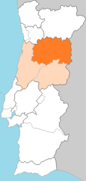 Beira Alta Province - Beira Alta (dark orange) in the region of Beira (light orange).