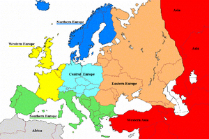 Regions of Europe Map