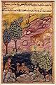 Regno moghul di akbar, storie di un pappagallo (tuti-nama) 03 il ritorno del leonementre la scimmia e la lince parlano, 1560 ca.jpg