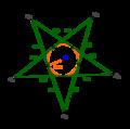 Regular pentagram inscribed circle.png