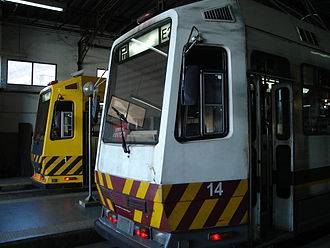 Trams in Buenos Aires - Original Materfer tram (foreground) with refurbished tram in the background.