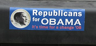 "Republican and conservative support for Barack Obama in 2008 - ""Republicans for Obama"" bumper sticker"