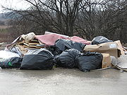 Waste illegally dumped at a subdivision construction site