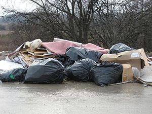 Illegal dumping - Illegal dumping in a residential subdivision, north of Toronto,  Ontario, Canada