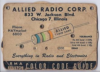 Electronic color code - RMA (Radio Manufacturers Association) Resistor Color Code Guide, ca. 1945–1955.