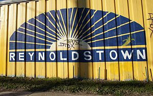 Reynoldstown, Atlanta - Reynoldstown logo on rail yard wall