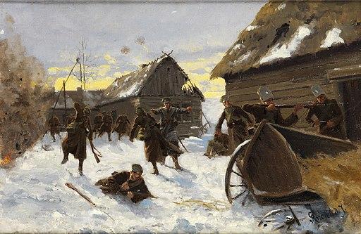 Richard Knötel Kriegsgefecht in einem verschneiten Dorf