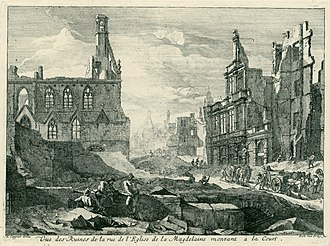 Richard van Orley - A view of the ruins from Magdalene church street ascending to the Court