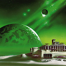 Painting of a green planet rising in the horizon behind a classical-style building on an alien moonscape.