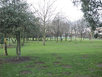 Roe Green Park - The basketball court in the background located in Roe Green Park in 2008