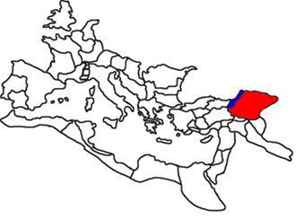 Arsacid dynasty of Armenia - Greater Armenia as part of the Roman Empire (in red), Lesser Armenia (in blue); 117 AD