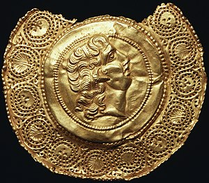 Imperial cult (ancient Rome) - Repoussé pendant of Alexander the Great, horned and diademed like Zeus Ammon: images of Alexander were worn as magic charms (4th-century Roman).