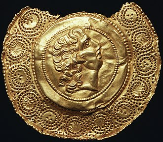 Imperial cult of ancient Rome - Repoussé pendant of Alexander the Great, horned and diademed like Zeus Ammon: images of Alexander were worn as magic charms (4th-century Roman).